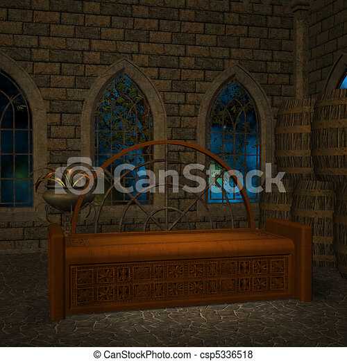 magic window in a fantasy setting. 3D rendering of a fantasy theme for background usage. - csp5336518