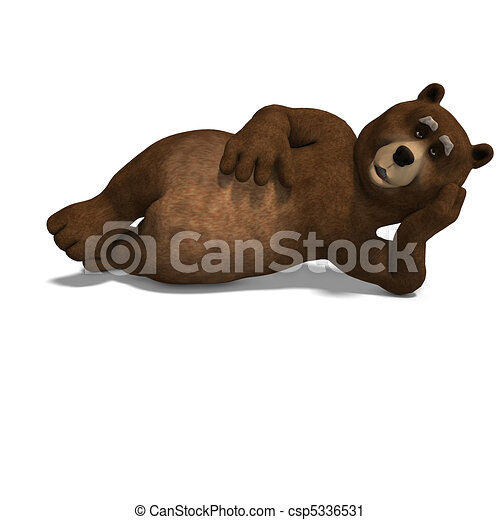 cute and funny toon bear. 3D rendering with  and shadow over white - csp5336531