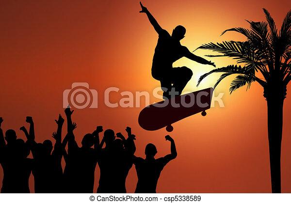 salto,  skateboard, tramonto - csp5338589