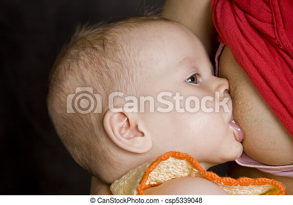 Baby breast feeding - csp5339048