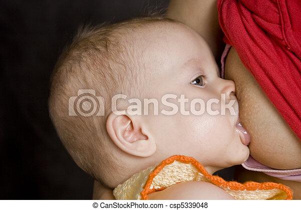 Baby breast feeding - csp5339048