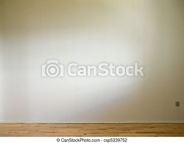 white wall with wooden floor and daylight from the side - csp5339752