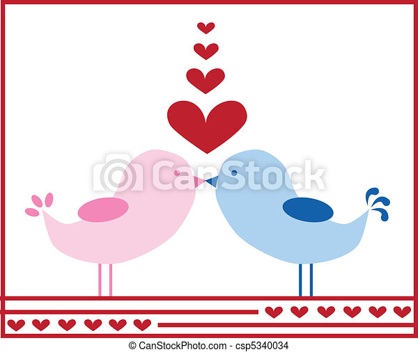 Love Birds Kissing - csp5340034
