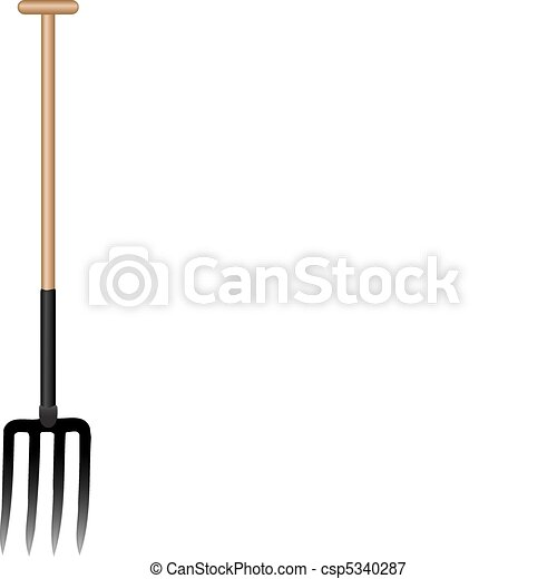 Vector illustration a pitchfork with the wooden handle - csp5340287