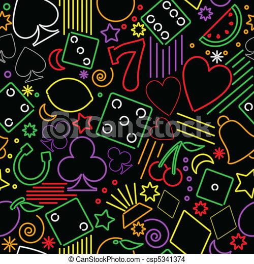 Seamless neon gambling background - csp5341374