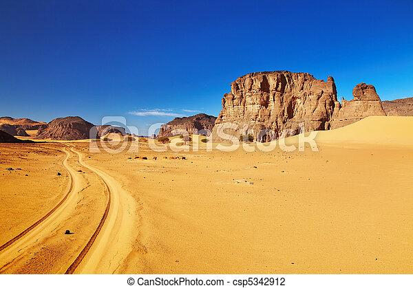 Road in Sahara Desert, Tadrart, Algeria - csp5342912