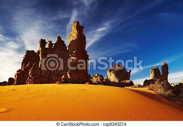 Bizarre sandstone cliffs in Sahara Desert - csp5343214