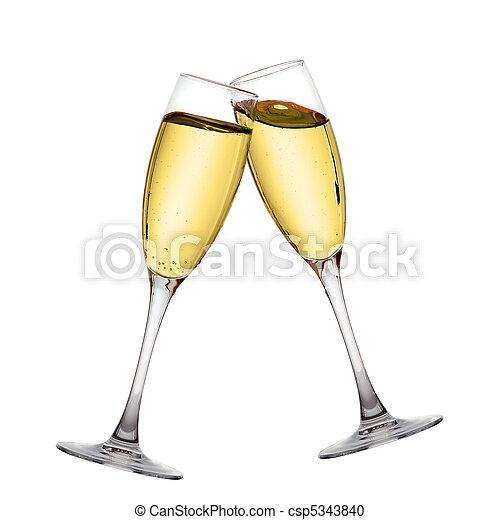 Two elegant champagne glasses  - csp5343840