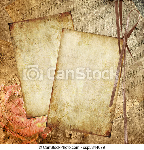 Romantic background in retro style with silhouette of rose, old paper  and musical notes - csp5344079