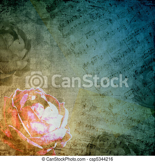 Romantic background in retro style with silhouette of rose and musical notes - csp5344216