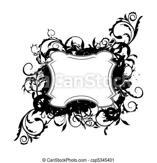 Illustration the floral black decor element for design - csp5345401