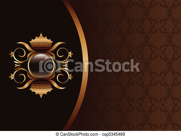 Illustration the black gold brown invitation frame or packing for elegant design - vector - csp5345469
