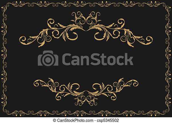 Illustration the luxury gold pattern ornament borders - csp5345502