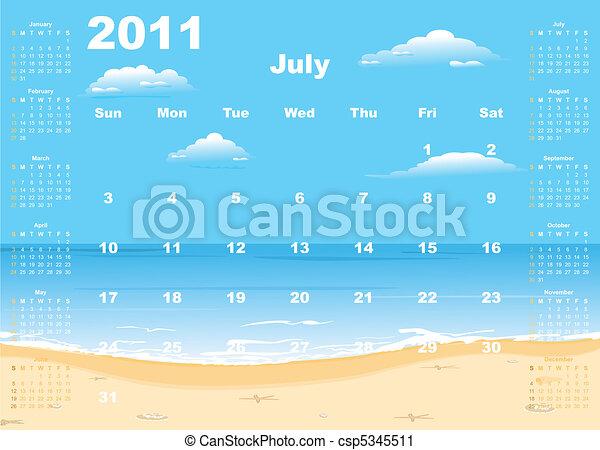 American calendar 2011 with tropic beach - csp5345511