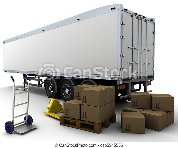 freight trailer and shipping boxes - csp5345556