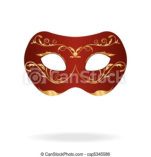 Illustration of realistic carnival or theater mask - csp5345586