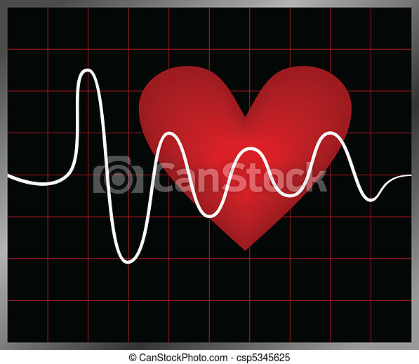Heart and heartbeat symbol - csp5345625