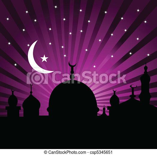 Greeting card for holy month of Ramadan Kareem - csp5345651