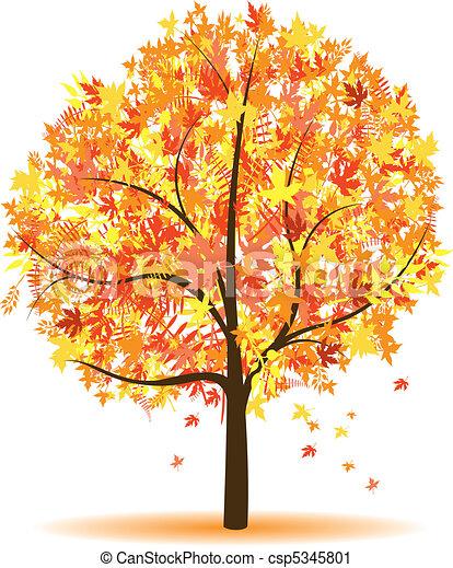 Vektor clip art av h st tr d a h st abstrakt tr d csp5345801 s k clipart illustration - Dessin d arbre en automne ...