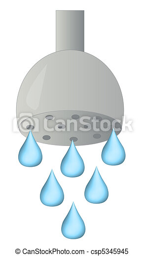 shower head with water droplets - csp5345945