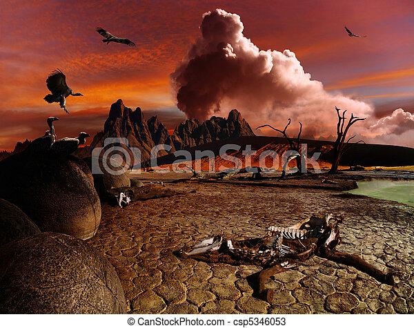 Apocalyptic fantasy landscape - csp5346053