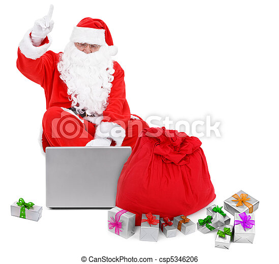 sorprendido, santa, Claus, computador portatil, presentes - csp5346206