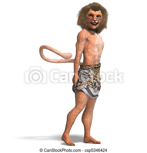 male manticore fantasy creature. 3D rendering and shadow over white - csp5346424