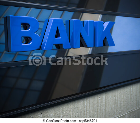 3D bank sign on a facade - csp5346701