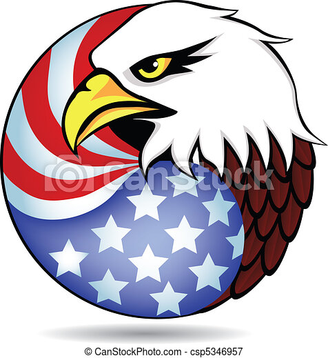 Eagle had and flag of America - csp5346957