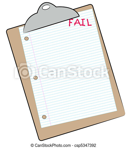 clipboard with lined paper marked fail  - csp5347392