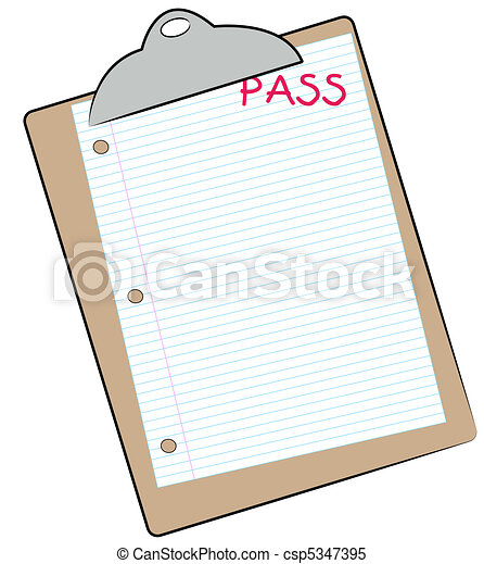 clipboard with lined paper marked pass  - csp5347395