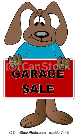 Illustration - chien, dessin animй, tenue, haut, signe, garage, vente