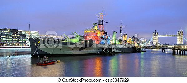 HMS Belfast and Tower Bridge - Thames, London - csp5347929