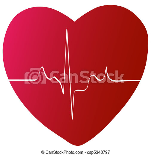 red heart with heart beat or rhythm  - csp5348797