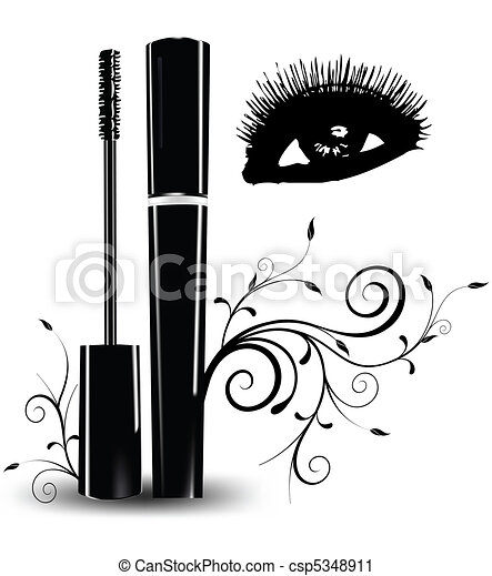 Ink for eyelashes with ornament and eyes. Vector - csp5348911