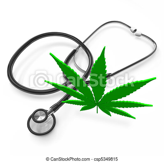 Medical Marijuana - Cannabis Leaf and Stethoscope - csp5349815