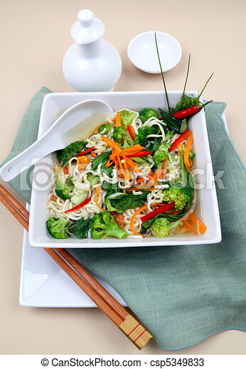 Asian Noodle Vegetarian Soup - csp5349833