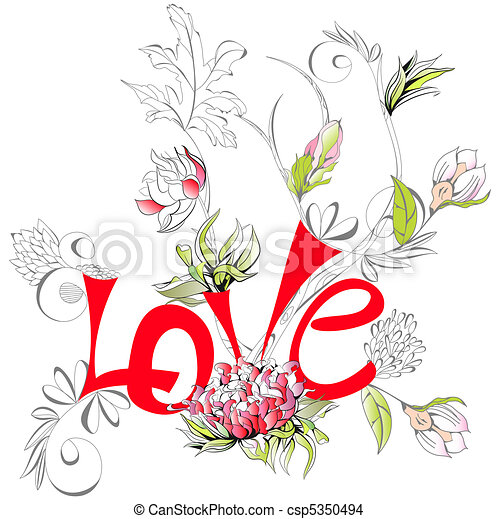 Inscription Love with peony flower  - csp5350494