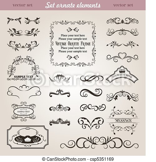 set floral ornate design elements - csp5351169