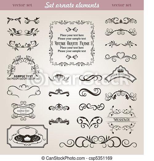 set floral ornate design elements - csp5351169