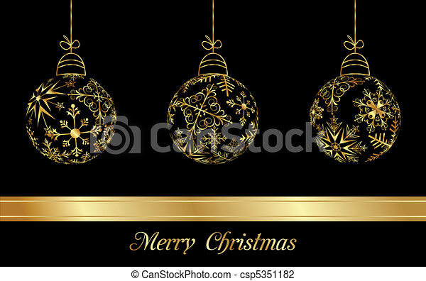 set Christmas balls made from golden snowflakes - csp5351182