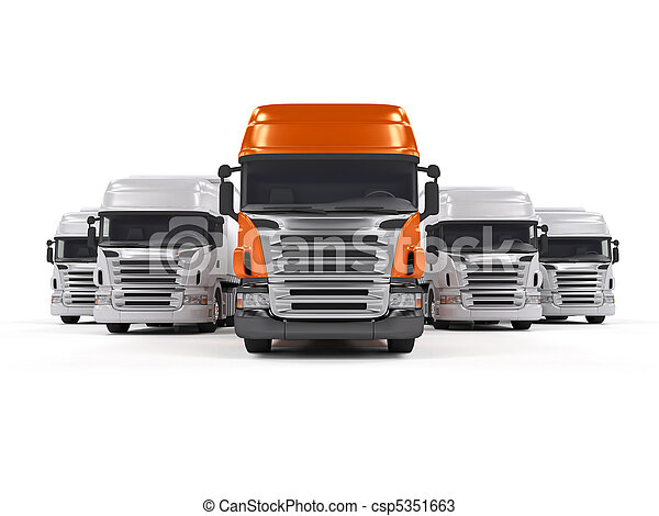 Trucks isolated on white - csp5351663
