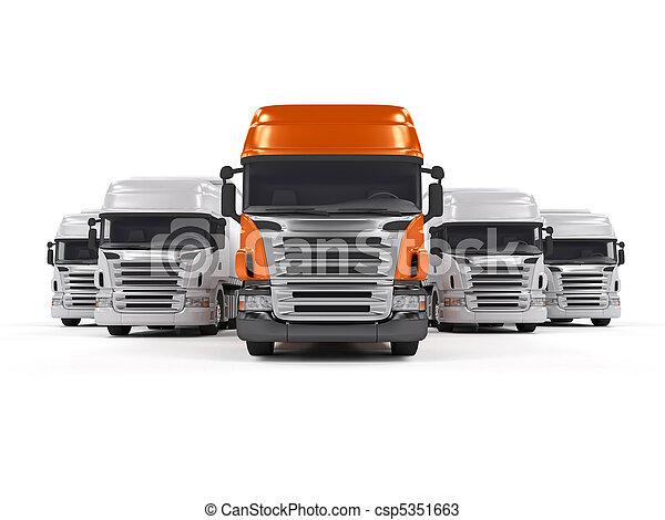 Trucks isolated on white - csp5351663