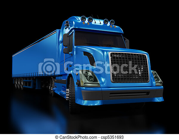 Heavy blue truck isolated on black - csp5351693