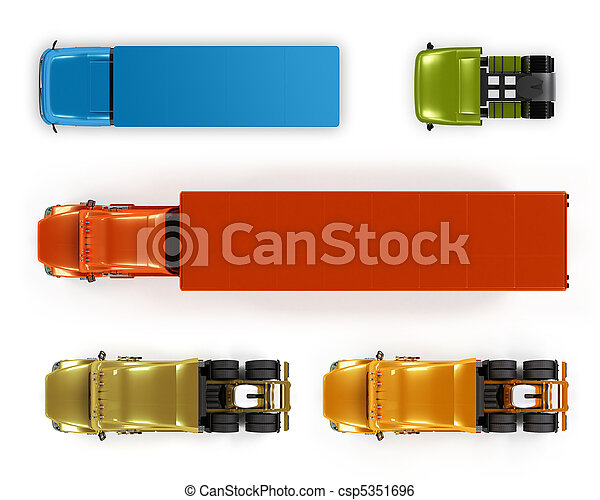 Top view trucks isolated on white - csp5351696