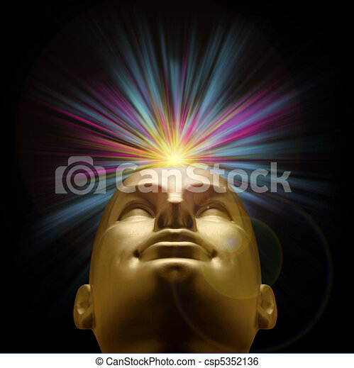 Golden mannequin head with an explosion of pastel light above - csp5352136