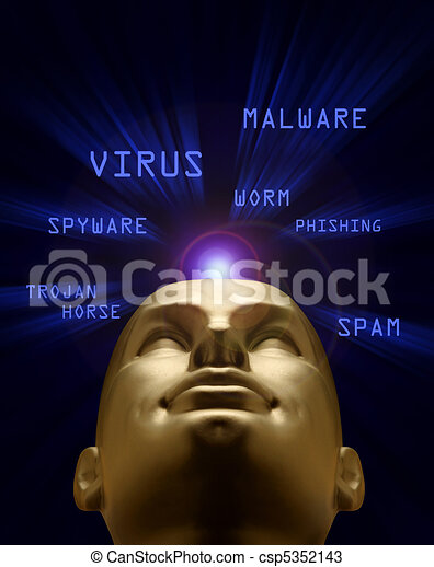Mannequin head in a vortex of cyber attack terms - csp5352143