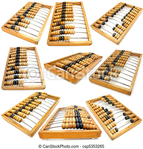 Set of accounting abacus for financial calculations - csp5353265