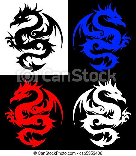 Dragon, tribal tattoo - csp5353406