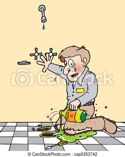 drain cleaner burn - csp5353742